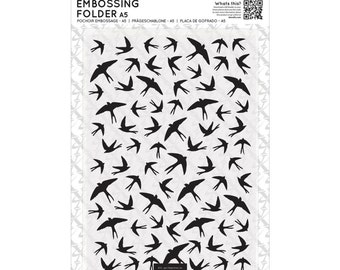 SWALLOWS in PATTERN EMBOSSING Folder - A6 size - New Item for our shop !! -