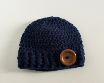 Boy Hat, Baby Hat, Crochet Hat, Infant Hat, Newborn Boy Hat, Baby Boy Beanie, Crochet Beanie, Baby Hat, Button Hat, Newborn Photo Prop