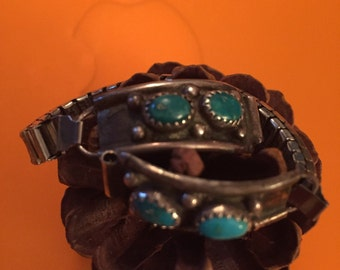 SALE Vintage Navajo Sterling Turquoise Watch Tips