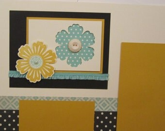 2 page Flowers premade 12 by 12 scrapbook pages