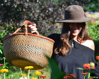 Brown cotton hat | Wide brimmed Sun hat | Womens Hats | Cotton Hats | Made in USA, Back to school Fashion, Fall Felt Hats