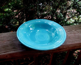 vintage fiesta turquoise flat rimmed soup dish