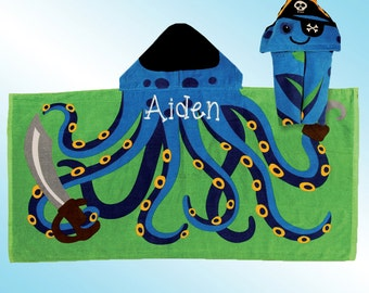 Hooded Beach Towel - Personalized and Embroidered - PIRATE OCTOPUS