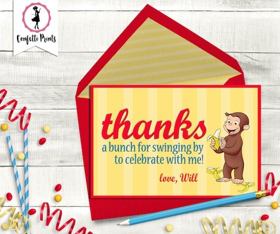 Curious George Birthday Thank You Card | Curious George Party | Curious George Theme | Printable Thank You Card | First Birthday Thank You