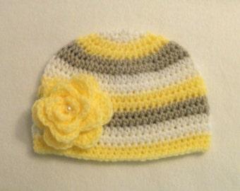 Baby Girl's Crocheted Hat Beanie Gray White & Yellow Baby Hat Crochet Baby Hat Gray and White Baby Girl's Hat with yellow Flower