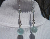 Arrow Earrings with Blue Cat Eye Dangles: Hand Crafted in USA