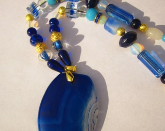 Blue Agate Necklace with SemiPrecious Gemstones and Gold Plated Accents