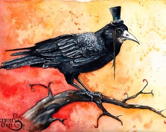 23 Enigma: Fine Art Watercolour Blackbird Print