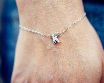 Birthstone Bracelet for Mom, Diamond Initial Bracelet, Fine Jewelry
