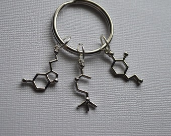 Biolojewelry - Neurotransmitter Molecule Keychain - Dopamine Acetylcholine Serotonin