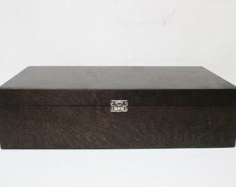 Large Storage Box / Big Wooden Box / Wooden Gift and Keepsake Box / Dark Brown Box 16.53 x 9.45 x 4.33 inch