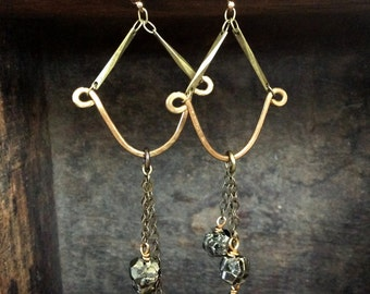 apollo earrings // brass and pyrite dangle