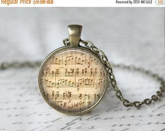 Music Sheet Necklace - Musician Necklace - Vintage Sheet Music Necklace - Music Lover Necklace - Glass Dome Necklace - Musician Gift T802