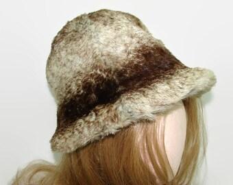 Betmar Real Fur Hat, Brown Rex Rabbit Cloche Hat, 1970s Hat with Box, Vintage Fur Bucket Hat