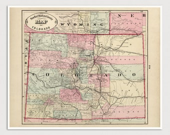 Old Colorado Map Art Print 1882 - Antique Map Archival Reproduction