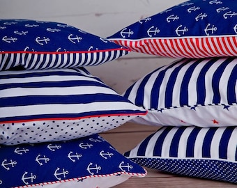 Set of 6 decorative pillow covers, cushion covers, marine, nautical, chevron, anchors, strips, navy blue