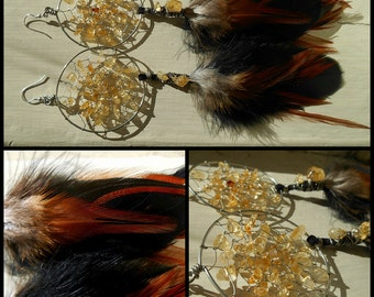Citrine Crystal Bohemian Dream Catcher Earrings with Hand Gathered Feathers by The Emerald Lotus