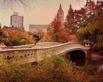 NYC Photography, Autumn Foliage Photo, Central Park in Fall, Bow Bridge Picture, New York City Photograph, Dreamy Vintage Wall Art Beige Red