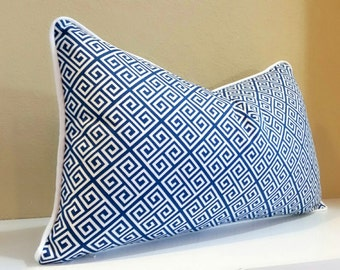 Navy Geometric Lumbar Pillow -Select your Size during Chechout - Navy and White pillow Cover