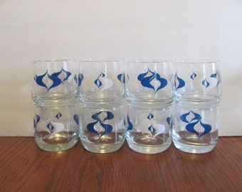 Mid Century Lowball Rocks Glasses Teal and White Mod Design