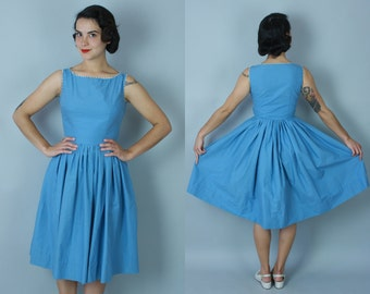 1950s Out of the Blue dress | vintage 50s sky blue cotton dress with white ric rac trim | xs