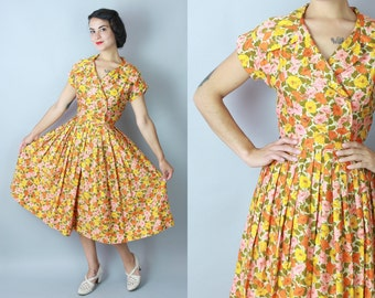 1950s Petunia dress | vintage 50s multicolor floral polished cotton summer day dress | small