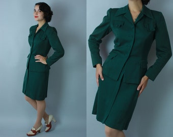 1940s Evergreen suit | vintage 40s green gabardine skirt suit | extra small