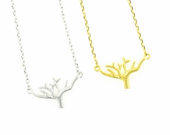 "Tiny Gold or Silver ""Baobab"" Tree of Life Necklace - Dainty, Simple, Birthday Gift, Wedding Bridesmaid Gift"