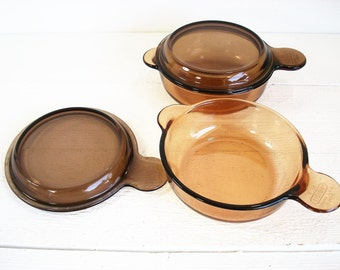 Items Similar To Vintage Usa Corning Ware Vision Amber 5