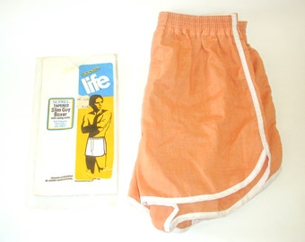 1978 Vintage Jockey Shorts Jockey Life Suprel Tapered Slim Guy Boxer with racing vents Size SMALL 28, salmon color in package