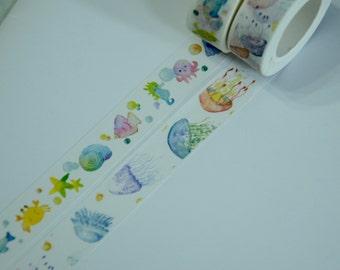 2 Rolls Japanese Washi Tape: Fish, Octopus, sea horse, and Jellyfish
