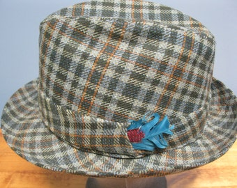 Vintage 1960's Grey Green Plaid Fedora Biltmore Hats Canada Hipster Fedora