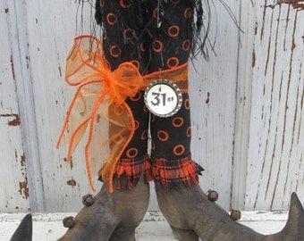 "Primitive Halloween Folk Art~ 10 "" tall Witch Boots w/ Fabric Stockings~Hafair Team"