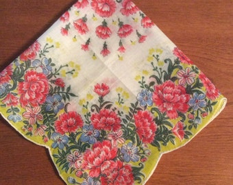 Pink Carnation Scalloped Hankie