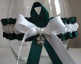 Forest Green - Clover Lucky Charm - Wedding Tossing Garter Belt - White Bow - Pearl - One Size & Plus Size