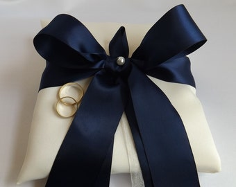Navy Blue Ribbon - Wedding Ring Pillow - Ring Bearer Pillows - Ivories or Whites - Duchess Satin