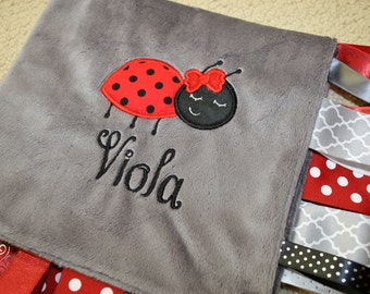 Personalized Ladybug Embroidered Applique Ribbon Sensory Blanket in Gray