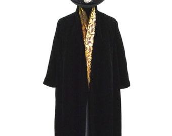 40s Black Velvet Swing Coat Vintage