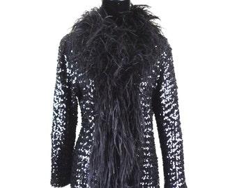 Extravagant Ostrich Feather and Sequin Jacket Cabaret Vintage