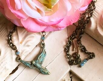 Bird Necklace- Bird Charm Necklace, Bird Lover Gift, Bird Gift, Bird Jewelry, Bird Charm, Patina Jewelry, Verdigris Jewelry, Flying Bird