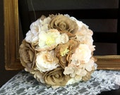 Burlap Wedding Bouquet, Rustic Bridal Bouquet, Fabric Bouquet, Brown Beige Ivory Cream Flowers, Ready to Ship