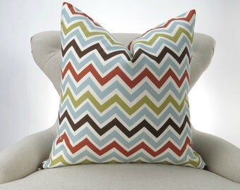 Zigzag Floor Pillow Cover, Euro Sham, Chevron, Rust Orange, Chocolate Brown, up to 28x28 inch, Zoom Zoom Village Premier Prints