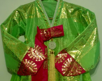 Korean Traditional Dress * 4 Piece Set with Dress, Jacket, Slip Petticoat and Ornament