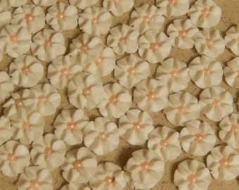 100  White Royal Icing Drop Flowers Edible for cupcakes & cakes