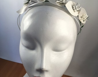 Light Ivory & White Bridal Lily Headband with Vintage Stamen Buds