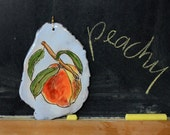 A Ceramic Peach, Ready to Hang, Great To Hang on Your Kitchen Wall