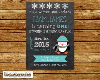 Penguin Chalkboard Invitation for Boys | Penguin Birthday Invitation | 1st Birthday | First Birthday | Winter Onederland | Blue