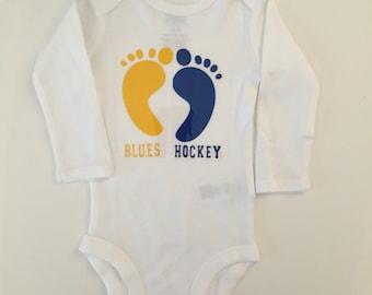 Custom Baby Boys Onesie, Baby Boys Shirt, Vinly, Newborn BoysOutfit, Blues Hockey, STL hockey!!