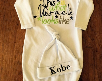Newborn Boys Take Home Outfit- Monogram Layette Gown -Personalized Baby Boys Clothes Layette Gown and Personalized Hat New Baby Girl Gift