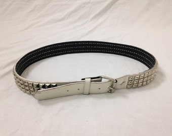white studded belt